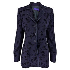 Rifat Ozbek Vintage Womens Dark Purple Tailored Velvet & Wool Jacket