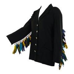 Rifat Ozbek Vintage Women's Feather Adorned Party Blazer Jacket, 1980s