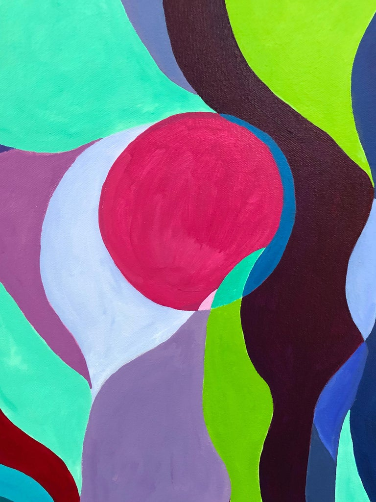 A striking abstract painting emphasizing a sensual unpredictable composition of squiggly forms having a delicious palette of fuschia, turquoise, acid green, blues and purples. By well known Princeton contemporary artist Fay Sciarra.