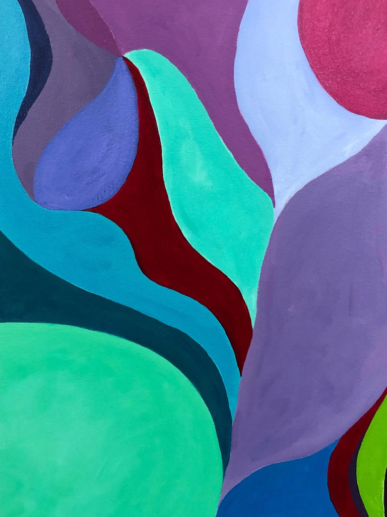 American Riff on Fuschia and Turquoise Original Abstract Painting For Sale