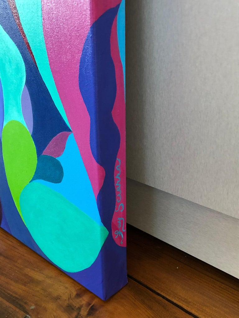 Contemporary Riff on Fuschia and Turquoise Original Abstract Painting For Sale