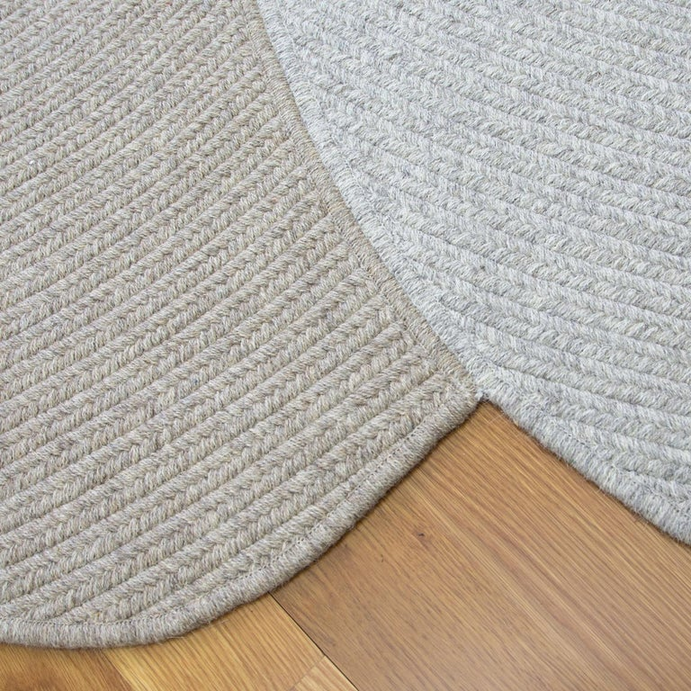 Contemporary Riff Rug from Souda, Customizable, Extra Large, Natural Wool, Dark Brown For Sale