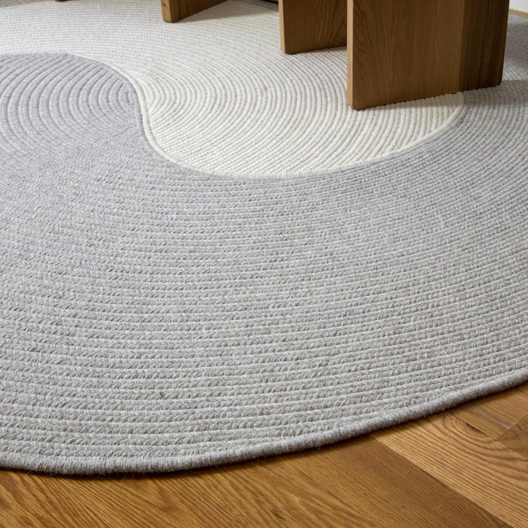Riff Rug from Souda, Customizable, Medium, Natural Wool, Light Grey For Sale 6