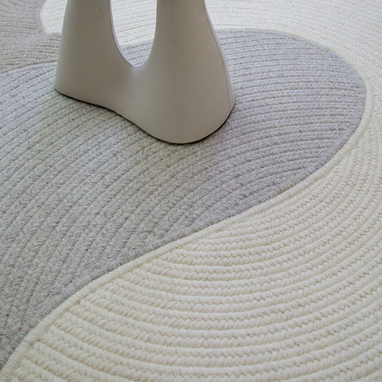 Riff Rug from Souda, Customizable, Medium, Natural Wool, Light Grey For Sale 7