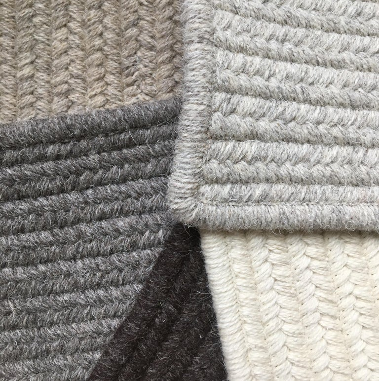 Contemporary Riff Rug from Souda, Customizable, Medium, Natural Wool, Light Grey For Sale