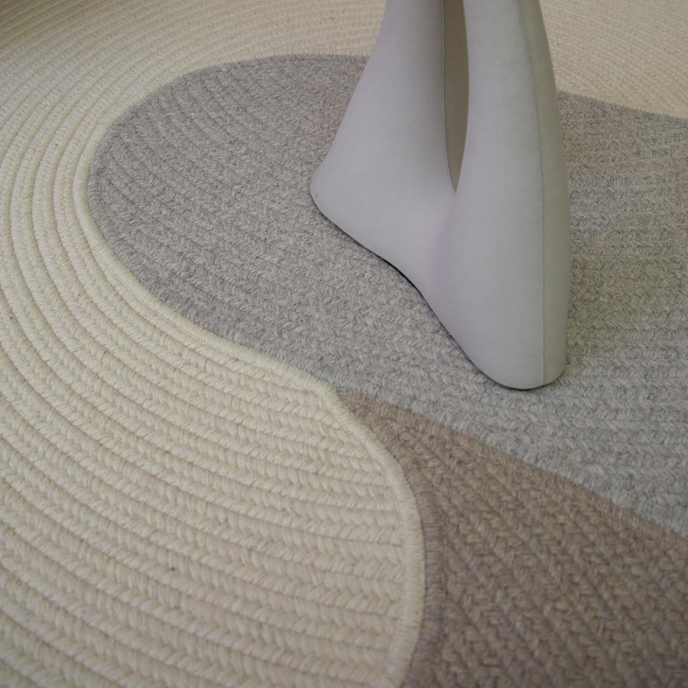 Riff Rug from Souda, Customizable, Medium, Natural Wool, Light Grey For Sale 2