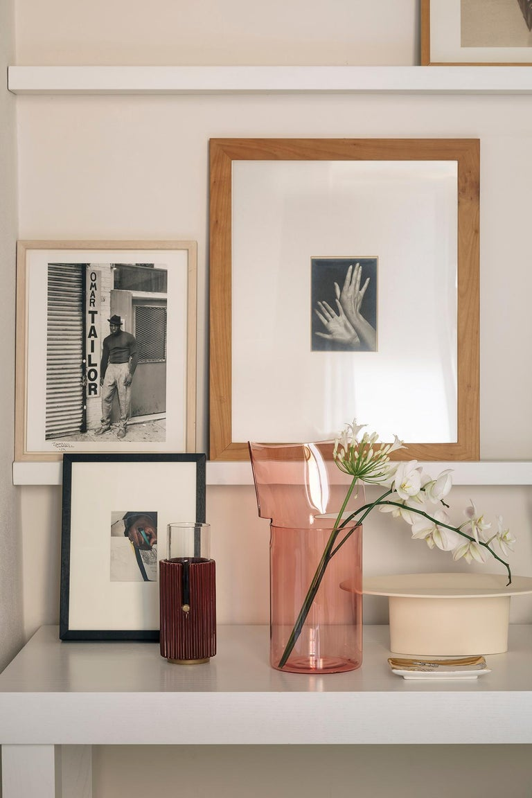 Modern Riflessi High Pink Blown Glass Vase by Böijte–Bottari For Sale