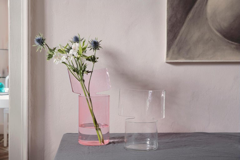 Italian Riflessi High Pink Blown Glass Vase by Böijte–Bottari For Sale