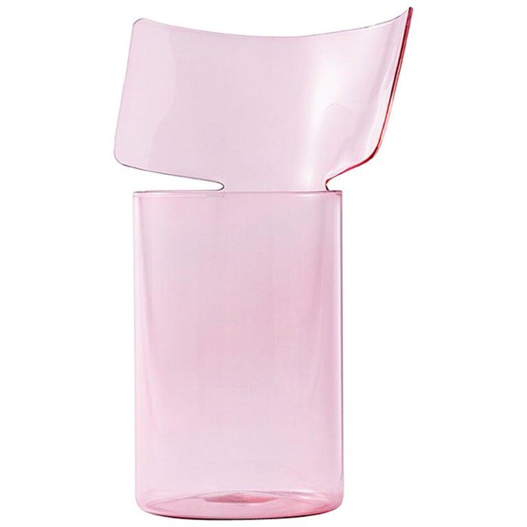 Riflessi High Pink Blown Glass Vase by Böijte–Bottari For Sale