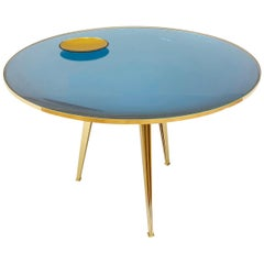 Riflesso Center and Dining Table by form A-Blue Glass Version