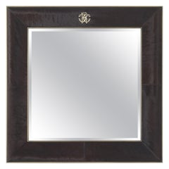 Riflesso Natural Mirror in Wooden Frame with Brown Leather by Roberto Cavalli