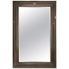Riflesso.2 Large Natural Mirror with Metal Frame by Roberto Cavalli