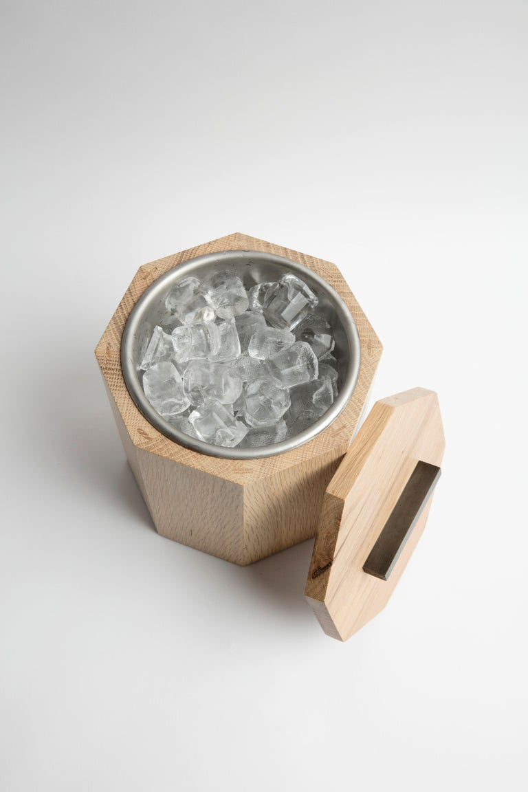 Hand-Crafted White Oak Wood Ice Bucket with Black Patina Steel Hardware and Stainless Insert For Sale