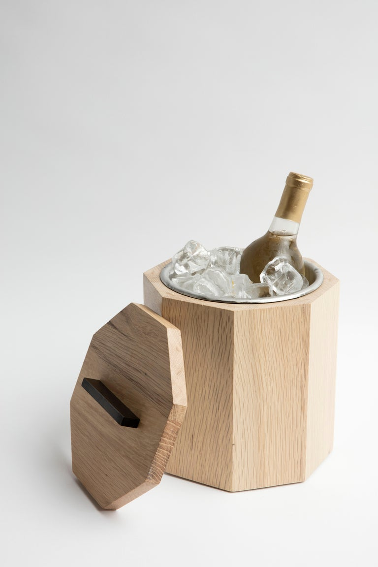 American White Oak Wood Ice Bucket with Black Patina Steel Hardware and Stainless Insert For Sale