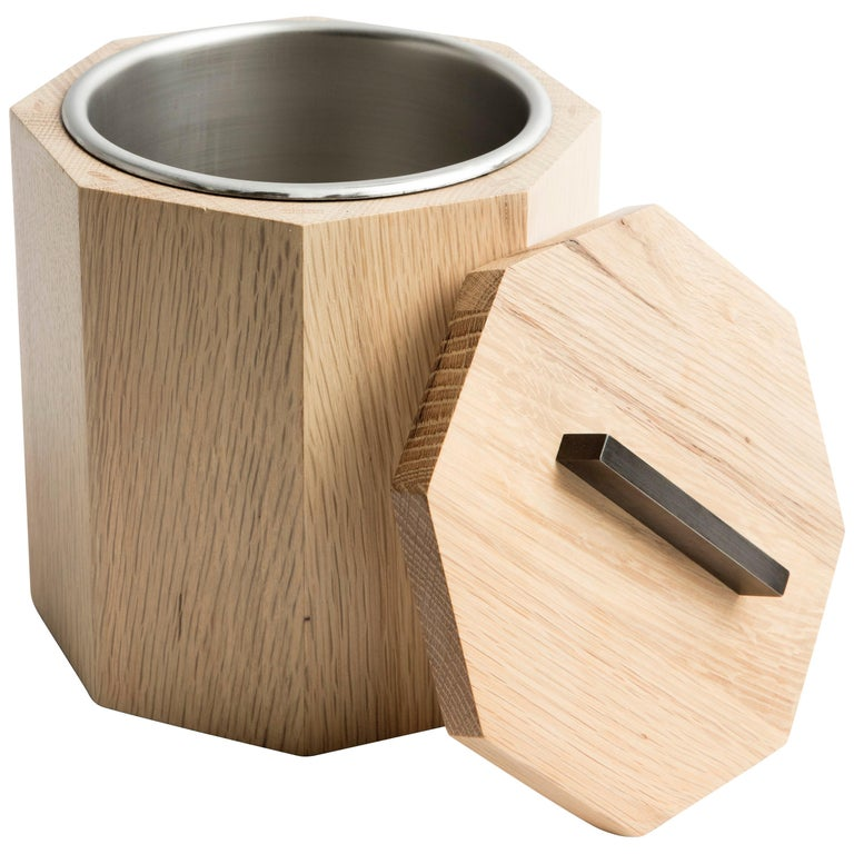 White Oak Wood Ice Bucket with Black Patina Steel Hardware and Stainless Insert For Sale