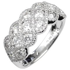 Right Hand Diamond Ring with Scallop Cross-Over Design