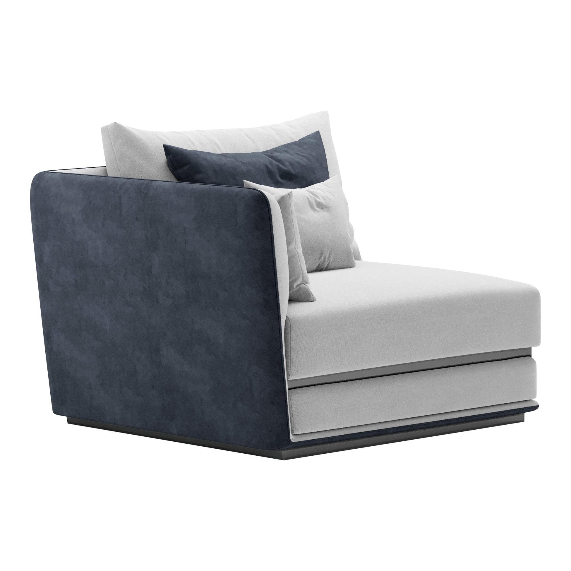 Right/Left Arm Single Geometric Modular Sofa by Fabio Arcaini Settee Velvet