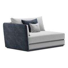Right/Left Corner Double Element Modular Sofa by Fabio Arcaini Geometric Settee