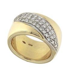 Rigid Ring 18 Karat Gold and White Diamond Central