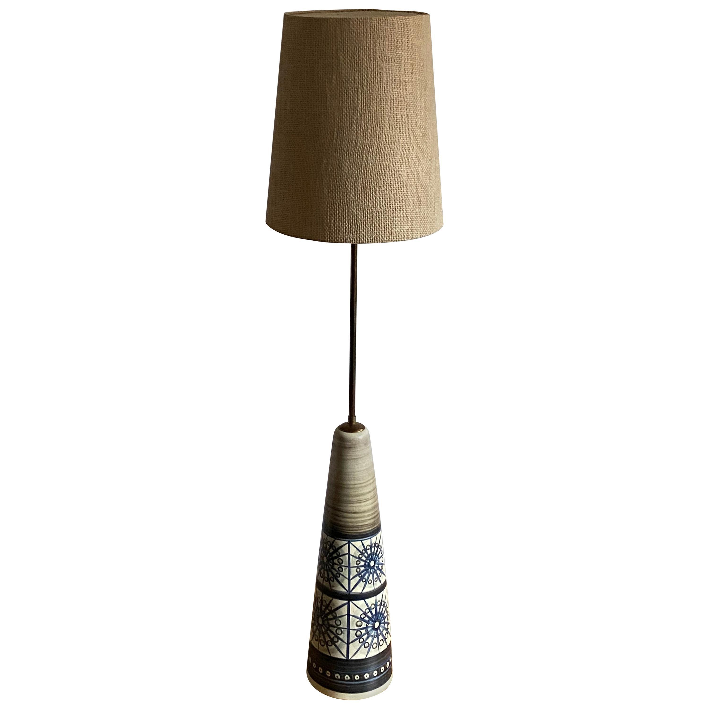 Rigmor Nielsen, Floor Lamp, Hand Painted Ceramic, Brass, Søholm, Denmark, 1960s