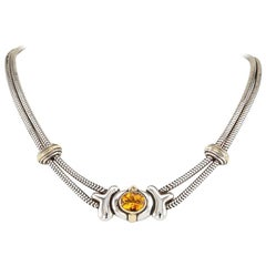 Rigoberto Citrine Sterling Silver Yellow Gold Necklace