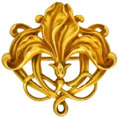 Riker Bros, Art Nouveau 14 Karat Gold Stylized Floral Brooch