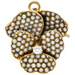 Riker Bros. Art Nouveau Diamond Seed Pearl 14 Karat Gold Pansy Pendant Brooch