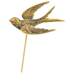 Riker Bros Art Nouveau Ruby 14 Karat Gold Bird Hat Pin