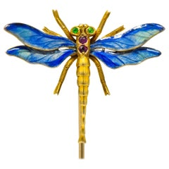 Riker Bros. Art Nouveau Ruby Demantoid Garnet Enamel 14 Gold Dragonfly Stickpin