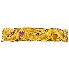 Riker Bros. Art Nouveau Ruby Diamond 14 Karat Gold Dragon Bracelet