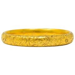 Riker Brothers Art Nouveau 14 Karat Gold Floral Foliate Bangle Bracelet