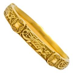 Riker Brothers Art Nouveau 14 Karat Gold Dragon Bangle Bracelet