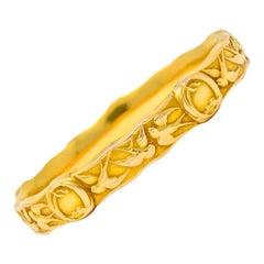 Riker Brothers Art Nouveau 14 Karat Gold Swallow Bird Bangle Bracelet