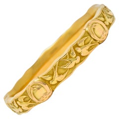 Riker Brothers Art Nouveau 14 Karat Gold Swallow Birds Bangle Bracelet