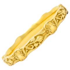 Riker Brothers Art Nouveau 14 Karat Yellow Gold Iris Flower Bangle Bracelet