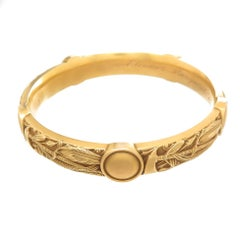 Riker Brothers Art Nouveau 18 Karat Gold Native American Theme Bangle Bracelet