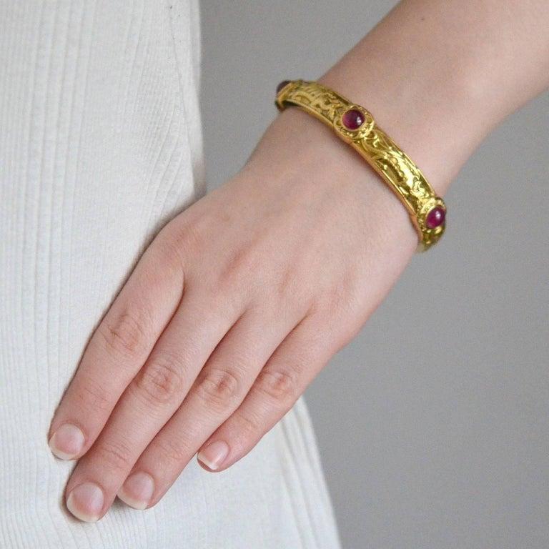 Riker Brothers Art Nouveau Cabochon Ruby Dragon Motif Bangle Bracelet For Sale 3