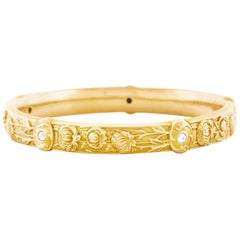 Riker Brothers Art Nouveau Diamond Set Gold Bangle