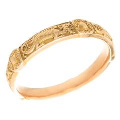 Riker Brothers Art Nouveau Gold Bangle Bracelet