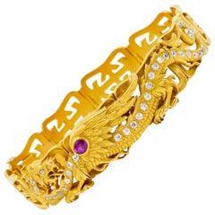 Riker Brothers, Art Nouveau Ruby Diamond 14 Karat Gold Serpent Dragon Bracelet