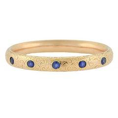 Riker Brothers Art Nouveau Sapphire Etched Floral Bracelet 3.25 Total Carat