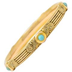 Riker Brothers Art Nouveau Turquoise Cabochon 14 Karat Gold Bangle Bracelet