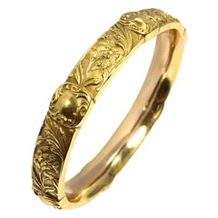 Riker Brothers Art Nouveau Yellow Gold Bangle Bracelet