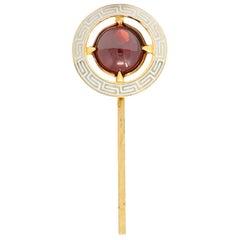 Riker Brothers Garnet Cabochon Enamel 14 Karat Gold Greek Key Stickpin