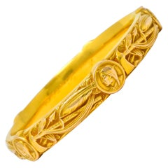 Riker Brothers Nouveau 14 Karat Gold Native American Bangle Bracelet