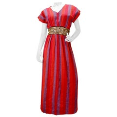 Rikma 1970s Wooden Macrame Striped Dress