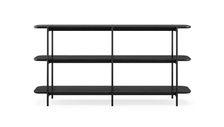 Riley 3 shelf unit by Dare Studio, 2018 Dimensions: H 91.1 cm, D 40 cm, W 180 cm Materials: European white oak with black stain, powder coated frame in black RAL 9005, brass fixings  Dare Studio is a British design company producing award
