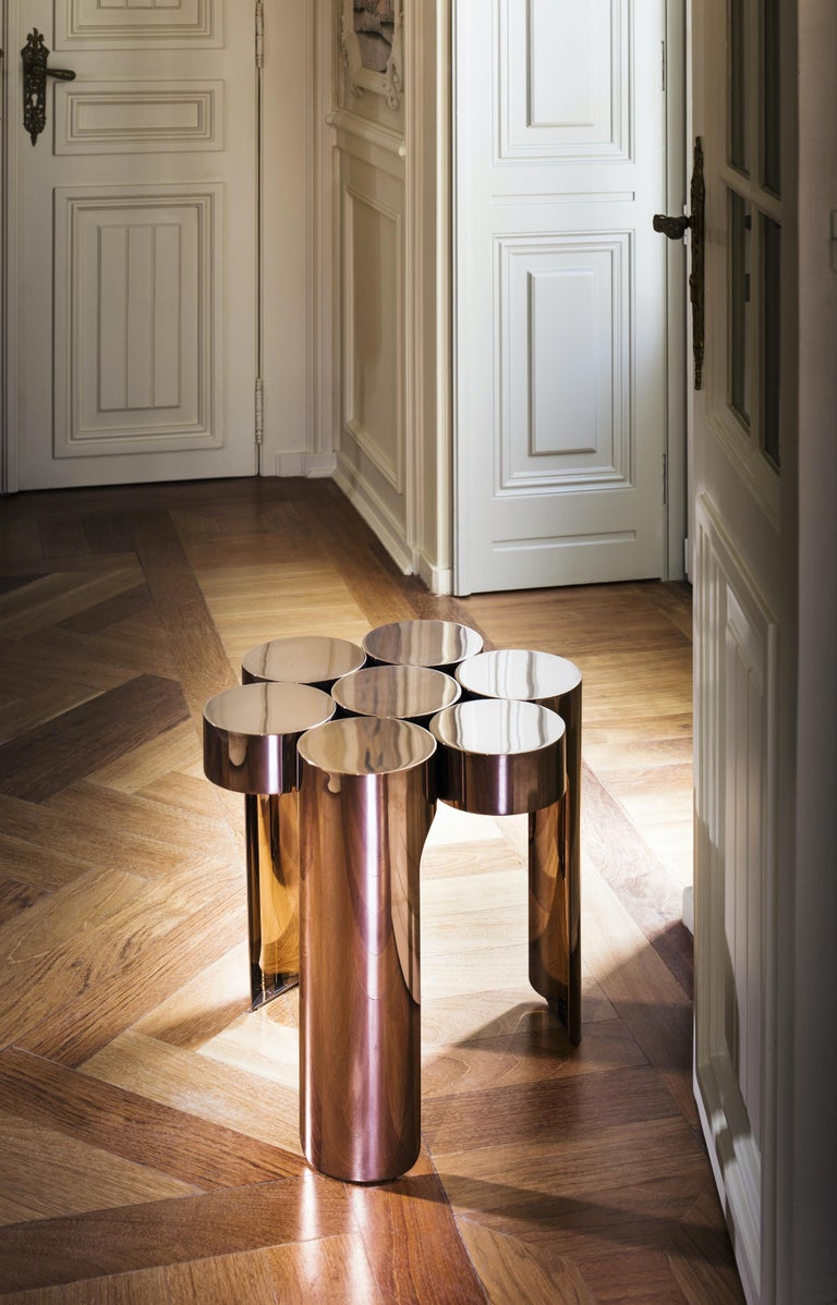 Modern Riluc, Mousse Side Table, Titanium Copper Designed in 2013 by Toni Grilo For Sale