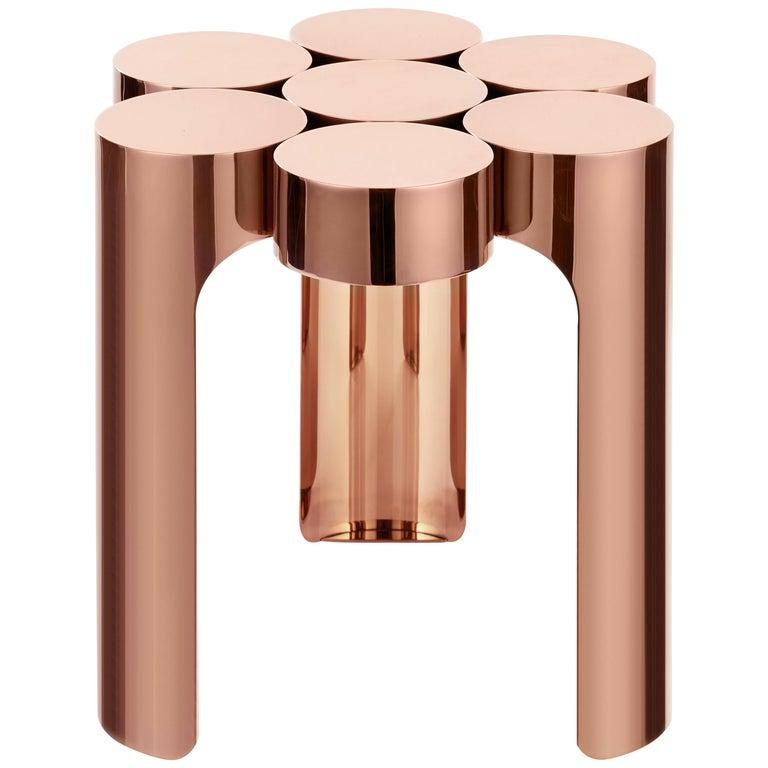 Riluc, Mousse Side Table, Titanium Copper Designed in 2013 by Toni Grilo For Sale