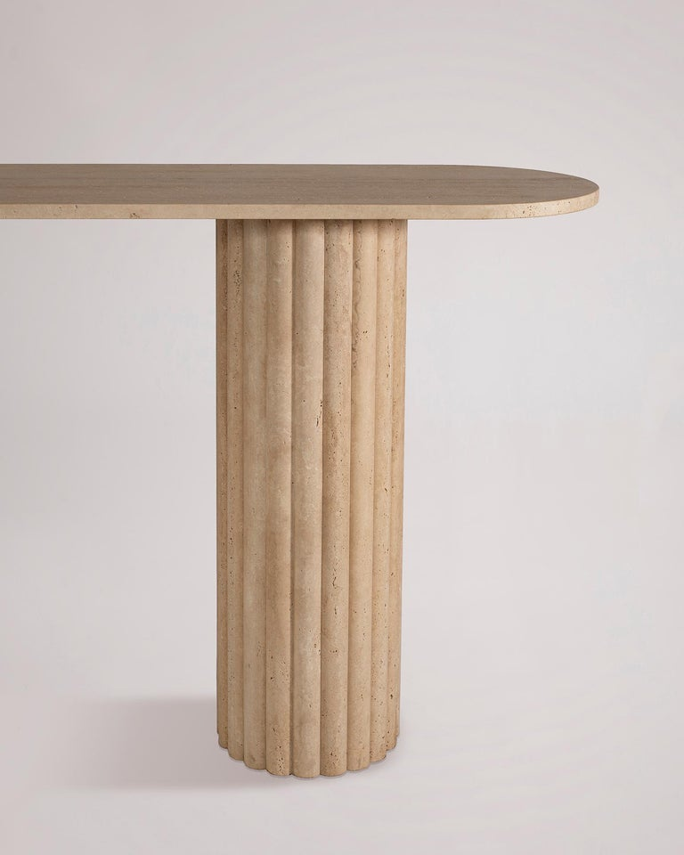 Contemporary Rima Console in Travertine Marble For Sale